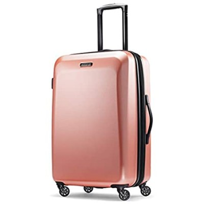 American Tourister Moonlight Hardside Expandable Luggage with Spinner Wheels  Rose Gold  Checked-Medium 24-Inch
