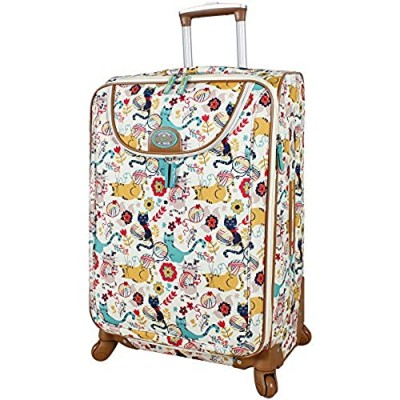 """Lily Bloom Luggage 24"""" Expandable Design Pattern Suitcase With Spinner Wheels For Woman (24in  Furry Friends)"""