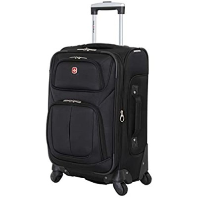 SwissGear Sion Softside Luggage with Spinner Wheels  Black  Carry-On 21-Inch