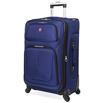 SwissGear Sion Softside Luggage with Spinner Wheels  Blue  Checked-Medium 25-Inch