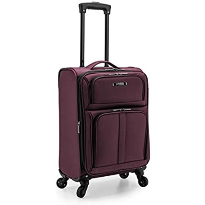 U.S. Traveler Anzio Softside Expandable Spinner Luggage  Burgundy  Carry-on 22-Inch