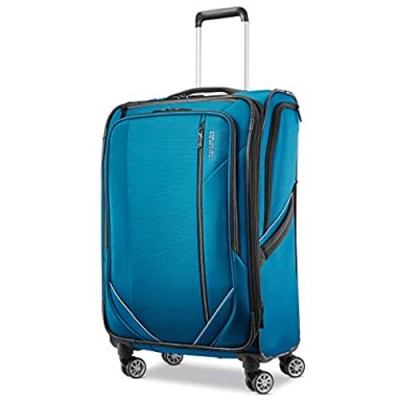 American Tourister Zoom Turbo Softside Expandable Spinner Wheel Luggage  Teal Blue  Checked-Medium 25-Inch
