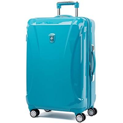 "Atlantic Luggage Atlantic Ultra Lite Hardsides 24"" Spinner Suitcase  turquoise blue  Checked Medium"