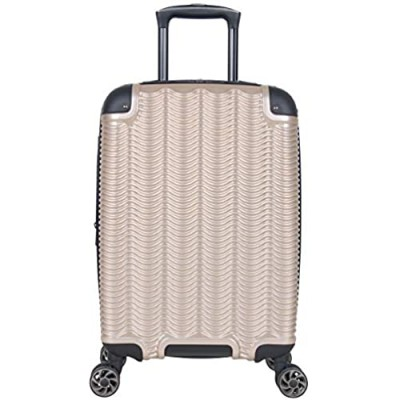 """Kenneth Cole Reaction Wave Rush 20"""" Lightweight Hardside 8-Wheel Spinner Expandable Carry-On Suitcase  Champagne  Inch"""
