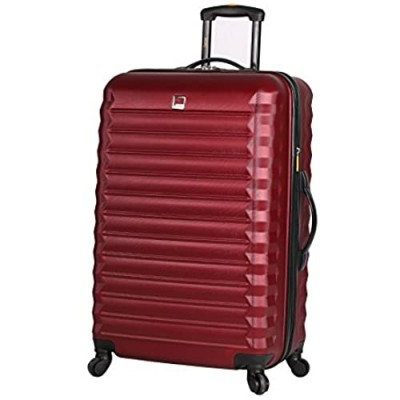 Lucas Treadlight Checked Luggage Collection - 28 Inch Scratch Resistant (ABS + PC) Hard Case Bag - Ultra Lightweight Expandable Large Suitcase With Rolling 4-Spinner Wheels (28in  Burgundy)