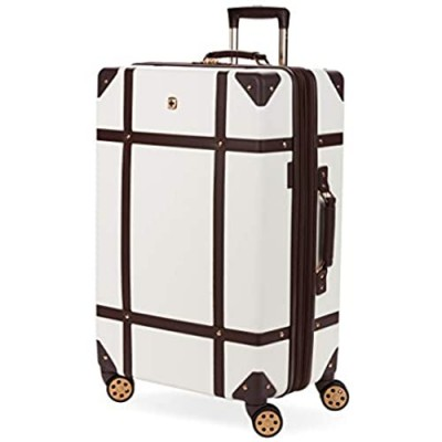 SWISSGEAR 7739 Trunk  Hardside Spinner Luggage (White  Checked-Large 26 Inch)
