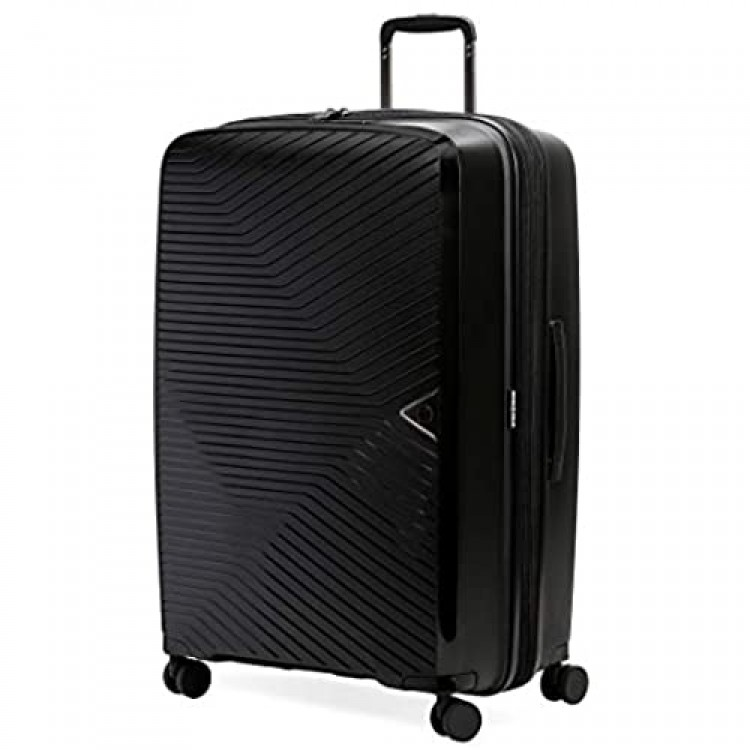 SwissGear 8836 Durable Expandable Spinner Luggage Black Checked-Large 28-Inch