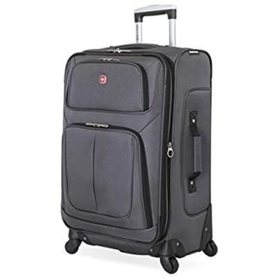 SwissGear Sion Softside Luggage with Spinner Wheels  Dark Grey  Checked-Medium 25-Inch