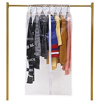 CHUENG Clear Garment Bag for Closet Storage 43 Inch Hanging Clothes Protectors Dust Proof Coat Covers Suit Bags Heavy Duty Lightweight  Clear  Pack of 1