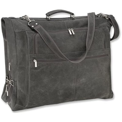 David King & Co. Distressed Leather Garment Bag  Grey  One Size