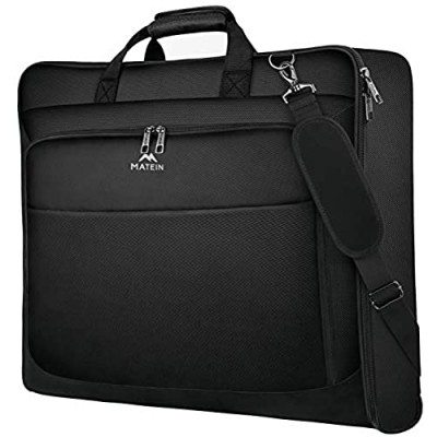 Garment Bags  Large Suit Travel Bag with Pockets & Shoulder Strap  Matein Professional Foldable Carry On Bag for Business Trip  Waterproof Luggage Bags for Travel for Men Women  Black