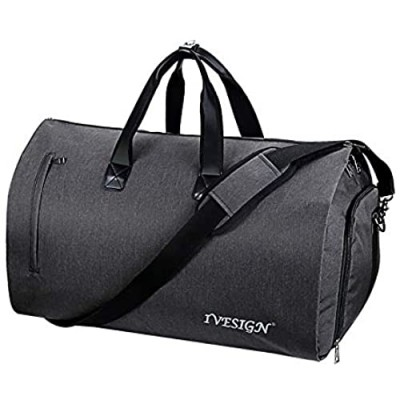 IVESIGN 2 in 1 Carry-on Travel Garment Bag Convertible Suit Duffle Bag with Shoulder Strap and Shoes Compartment Weekender Bag for Men Women