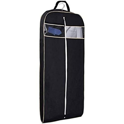 """MISSLO 43"""" Gusseted Travel Garment Bag with Accessories Zipper Pocket Breathable Suit Garment Cover for Shirts Dresses Coats  Black"""