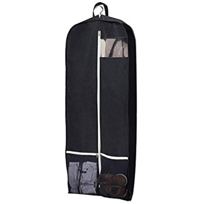 """SLEEPING LAMB Breathable Gusseted Garment Bag 54"""" Dress Suit Cover with 2 Large Mesh Pockets  Black"""