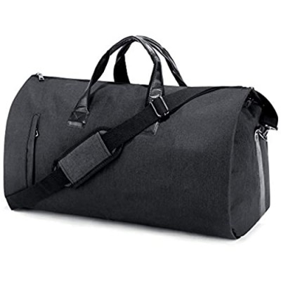 SUVOM Suit Travel Bag Carry On Garment Bag with Shoes Compartment Duffle Bag Weekend Bag Flight Bag for Travel & Business Trips With Shoulder Strap  Black