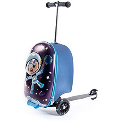 Kiddietotes 3-D Lightweight Hardshell Carry-on Scooter Suitcase - LED Light Up Wheels