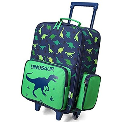 Rolling Luggage for Kids VASCHY Cute Travel Carry on Suitcase for Boys Toddlers/Children with Wheels 18inch Dinosaur