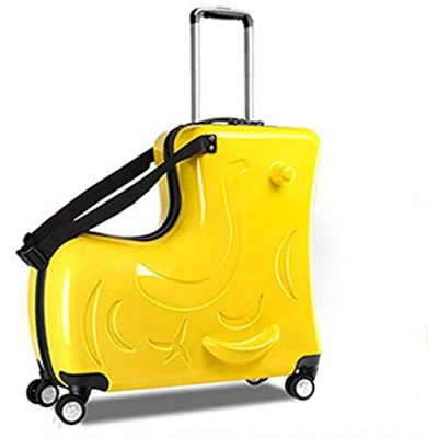 Suitcase kid suitcase kid luggage kid travel Fashionable appearance Rideable Funny suitcase Add fun to the journey kid gift 24in Recommended age 2-12 years old (yellow)