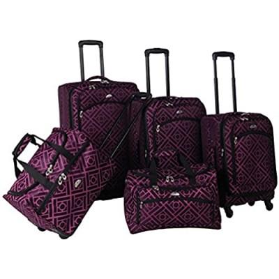 American Flyer Astor 5-Piece Spinner Luggage Set  Black/Purple  One Size
