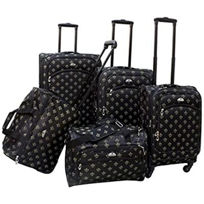 American Flyer Fleur De Lis 5-Piece Spinner Luggage Set  Black  One Size 85700-5