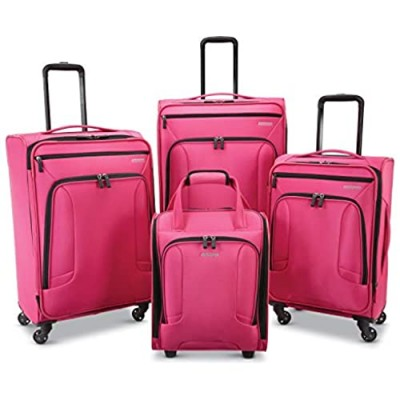 American Tourister 4 Kix Expandable Softside Luggage with Spinner Wheels  Pink  4-Piece Set (RT/21/25/28)