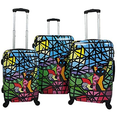 Chariot Stained Art 3-Piece Hardside Lightweight Spinner Luggage Set  Glass Cat  One Size