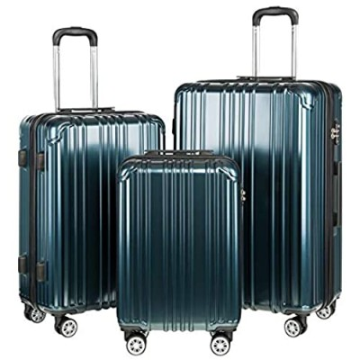 COOLIFE Luggage Expandable Suitcase PC+ABS 3 Piece Set with TSA Lock Spinner Carry on 20in24in28in (Teal  3 piece set)