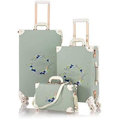"""COTRUNKAGE 3 Piece Vintage Luggage Set 20"""" 26"""" Embroid Floral Rolling Suitcase for Women with 13"""" Luggage Bag  Matcha Green"""
