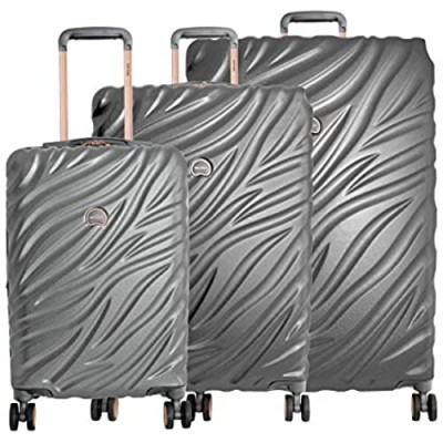 Delsey Paris Alexis Lightweight Luggage 3 pc Set  Expandable Spinner Double Wheel Hardshell Suitcases with TSA Lock