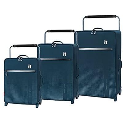 it luggage World's Lightest Vitalize 2 Wheel Super Lightweight Suitcase  Blue  3-Piece Set