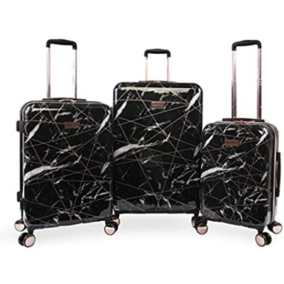 Juicy Couture Women's Vivian 3 Piece Hardside Spinner Luggage Set  Black Marble Web  One Size