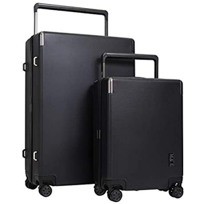 M&A Lakeside Wide Trolley Spinner Luggage with TSA-Lock  Black  2-Piece Set