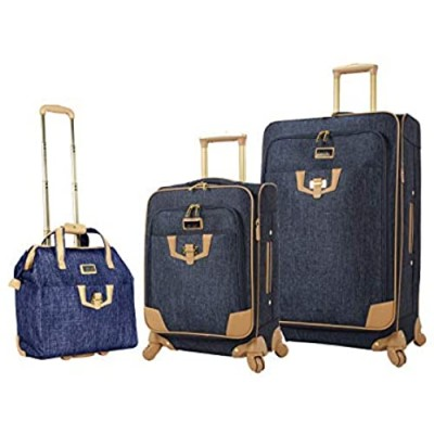 Nicole Miller 3 Piece Softside Luggage - Expandable Lightweight Suitcase Set Includes 15 Inch Under Seat Bag  20 Inch Carry On & 28 Inch Checked Suitcase with Spinner Wheels (One Size  Paige Navy)