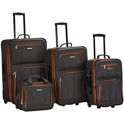 Rockland Journey Softside Upright Luggage Set  Charcoal  4-Piece (14/19/24/28)
