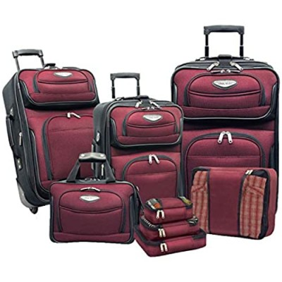 Travel Select Amsterdam Expandable Rolling Upright Luggage  Burgundy  8-Piece Set