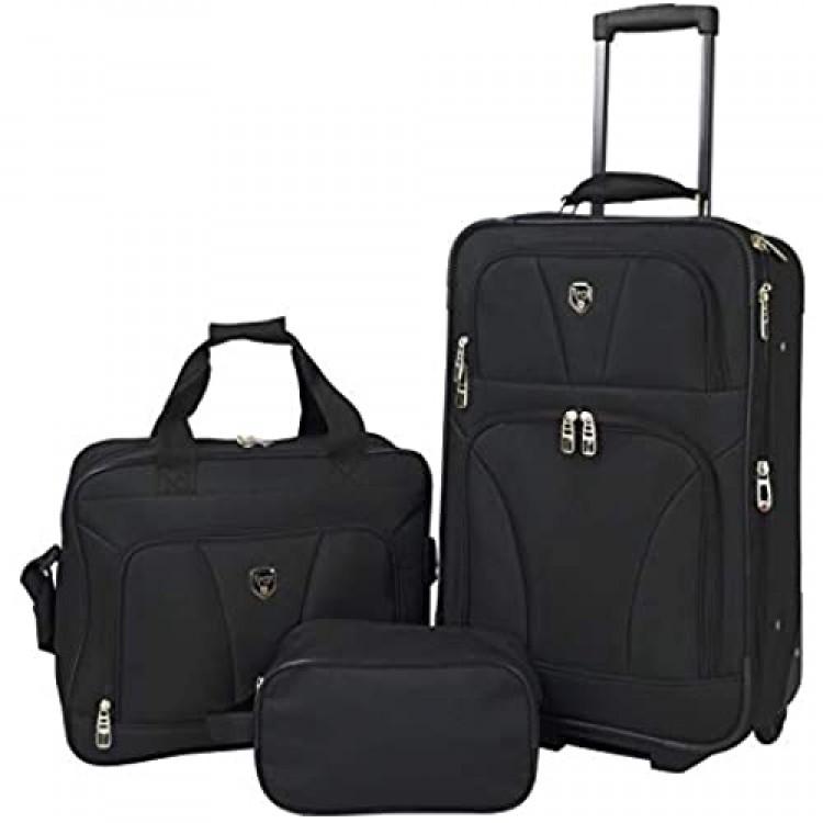 Travelers Club Bowman 3-Piece Expandable Luggage Set Black (Dopp/Tote/20)