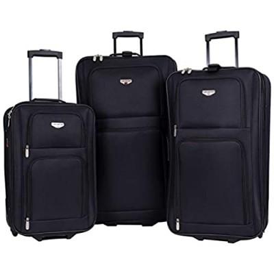 Travelers Club Genova Expandable Luggage Set  Black  3 Piece