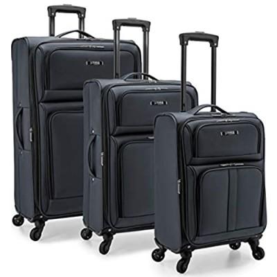 U.S. Traveler Anzio Softside Expandable Spinner Luggage  Dark Grey  3-PIece Set (22/26/30)