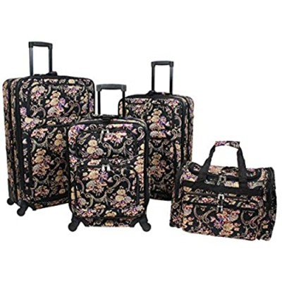World Traveler 4-piece Rolling Expandable Spinner Luggage Set-Classic Floral  One Size