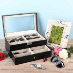 CO-Z Sunglasses Organizer for Women Men Multiple Eyeglasses Eyewear Display Case Leather Multi Sunglasses Jewelry Collection Holder with Drawer Sunglass Glasses Storage Box with 12 Compartments
