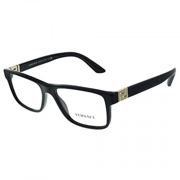 Versace VE 3211 GB1 Black Plastic Rectangle Eyeglasses 55mm