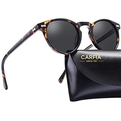 Carfia Retro Round Polarized Sunglasses for Men UV400 Protection Sport Outdoors Sunglasses CA5288L