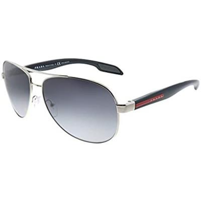 Prada Linea Rossa Lifestyle PS 53PS 1BC5W1 Steel Metal Aviator Sunglasses Grey Gradient Polarized Lens