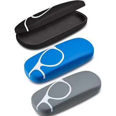 3 Pieces Hard Shell Clamshell Eyeglasses Case Protective Sunglasses Case Portable Glasses Protection Case with 3 Pieces Glasses Cloth
