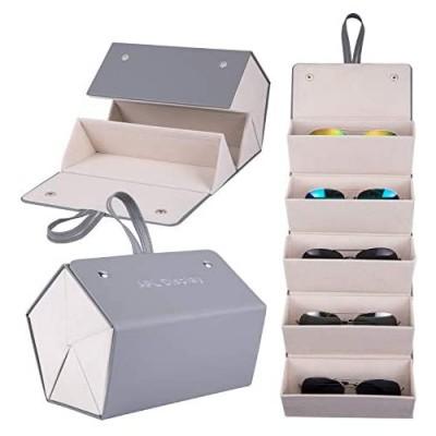 APL Display Sunglasses Organizer Case - 5 Slots Travel Sunglasses Case for Multiple Glasses PU Leather Hanging Sunglasses Holder Eyeglass Organizer Display