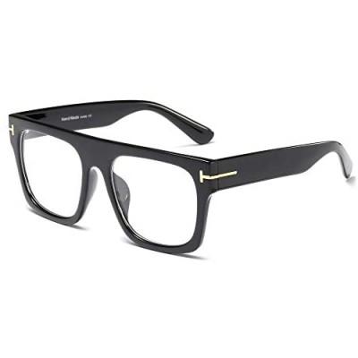 Allt Unisex Large Square Optical Eyewear Non-prescription Eyeglasses Flat Top Clear Lens Glasses Frames