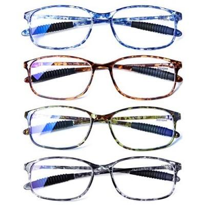 DOOViC Computer Reading Glasses 4 Pack Blue Light Blocking Glasses Anti Eyestrain Flexible Lightweight Readers for Women Men