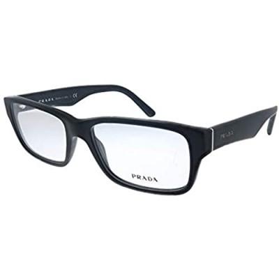Prada Heritage PR 16MV 1BO1O1 Matte Black Plastic Rectangle Eyeglasses 55mm