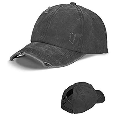 LIVACASA Baseball Cap Women Washed Vintage Distressed Criss Cross Baseball Hat Men High Ponytail Cotton Adjustable Dad Cap