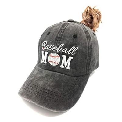 Waldeal Women's Embroidered Adjustable Ponytail Hat Messy High Bun Baseball Cap